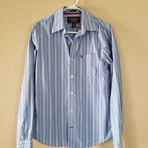 Abercrombie & Fitch Striped Button Down Shirt. Med